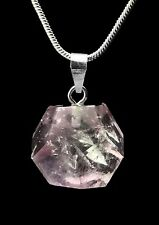 Pink Rose Quartz Dodecahedron D12 925 Sterling Silver Pendant Jewelry Gift