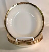 """4 Fire King White With Gold Trim Swirl Golden Anniversary 7 5/8"""" Soup Bowls"""
