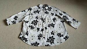 Womens Blouse-CHAPS-RALPH LAUREN-white/black floral 100% cotton 3/4 sleeves-2X