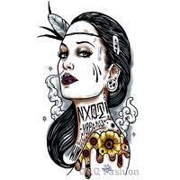 Gypsy Women Feather Arm Leg Body Art Waterproof Henna Temporary Tattoo Sticker H