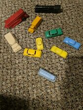Rare Lot of 10 Vintage Small Plastic Vehicles Cars Trucks Trains