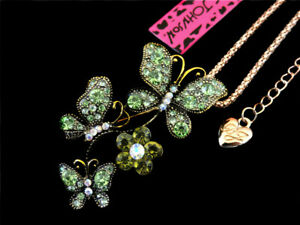 Betsey Johnson Green Crystal Butterfly Pendant Necklace Sweater Chain