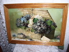FRAMED PRINT BASKET OF VIOLETS ANTIQUE LITHOGRAPH PAUL de LONGPRE