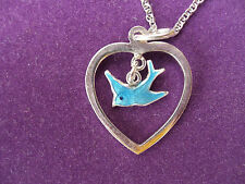 925 STERLING SILVER PENDANT, HEART WITH REAL ENAMEL BLUE BIRD