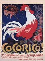 ROOSTER SINGING COCORICO OPERETTE BIRD PARIS THEATER FRENCH VINTAGE POSTER REPRO