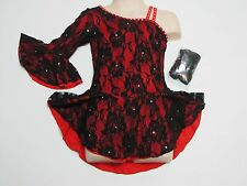 ICE FIGURE SKATING COMPETITION DRESS Red Black Salsa Tango One Sleeve Crystals M