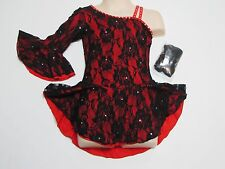 ICE FIGURE SKATING COMPETITION DRESS Red Black Salsa Tango One Sleeve Crystals S