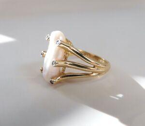 Elegant 14K Yellow Gold Biwa Pearl & Diamond Maine Estate Cocktail Ring
