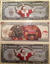 SANTA CLAUS CHRISTMAS MILLION DOLLAR LOT of (3) NOVELTY NOTES FROM A USA SELLER