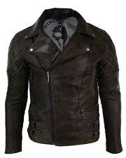 Mens Slim Fit Cross Zip Retro Vintage Brown Biker Punk Rock Real Leather Jacket