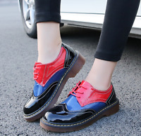 Women's Round Toe Brogue Lace Up Patent Leather Platform Oxford Casual Shoes