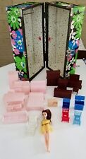 Lot of Vintage Mpc and other Doll House Furniture~ Mod Doll Case~Topper Doll