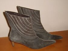 Ladies Grey Leather Pull on Ankle Boots UK 4 EUR 37 Distressed Worn Look Used