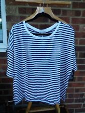Pure Collection Luxury Linen Relaxed T-Shirt - Navy Stripe UK Size 20 - RRP £49