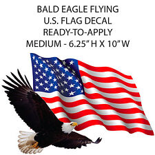 "US PATRIOTIC American Flag Eagle MEDIUM Camper RV sticker 10"" Wide EASY-APPLY"