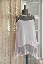 Jeanne d´Arc Living Kleid Hängerchen Trägerkleid Leinen Rosé Shabby Vintage