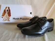 Mens Black Leather Oxfords Dress Shoes Hush Puppies, Kane Maddow, Size 13 Men's