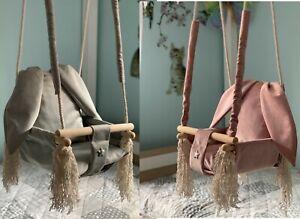 3in1 Kinderschaukel aus Holz Babyschaukel Hängesessel Baby - Schaukel - Hase