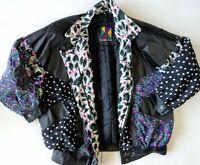Komitor 80s 90s  Leather Jacket Vintage Retro Coat Bomber Womens