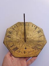 "18th Century English Gilt Brass Bronze ""Life Is Just A Shaddowe"" Shadow Sundial!"