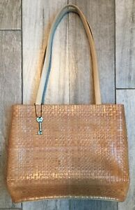 Fossil Soulderbag Purse Handbag Brown Textile Design Medium Size Fast Shipping