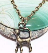 "CAT 3D_Small Bronze Pendant on 18"" Chain Necklace_Kitty Kitten Pet Halloween_19N"