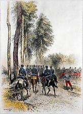 HUSSARDS - SERVICE en CAMPAGNE - Gravure couleur du 19e s. (Édouard Detaille)