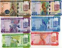 GAMBIA SET 6 PCS 5 10 20 50 100 200 DALASIS 2015 P 31 32 33 34 35 36 UNC