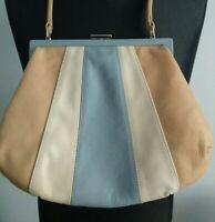 Justine Smith Blue Beige Cream Clasp Womens Bag Shoulder Art Deco 50's style