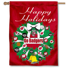 Uw Badgers Merry Christmas Wreath Decorative Holiday Wreath House Flag