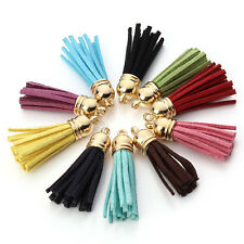 10Pcs Women's Suede Tassel Key Chain Straps Charm Keyring Pendant Decor