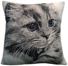 Cat Woven Design Cushion Cover