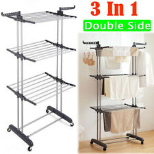 Folding Clothes Airer 3Tier Indoor/Outdoor Laundry Dryer Rack Line Grey Color UK