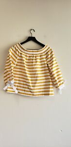 J Crew Women's Striped Off Shoulder Top Yellow White G2549 M