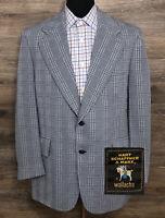 VTG Hart Schaffner Marx Men's Wool Blue Plaid 2-BTN Blazer Sport Coat Jacket 42R