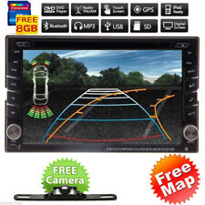 Backup Camera+GPS Double 2 Din Car Stereo Radio CD DVD Player Bluetooth with Map