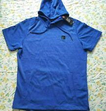 New Mens Under Armour Terry Short Sleeve Hoodie Sweatshirt XXL/ 2XL Bright Blue
