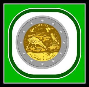 Lithuania, Litauen 2021COIN 2 euro Biosphere reserve bird , frog coin card