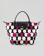 Auth. Longchamp Pois Velvet Handbag Fuchsia (Limited Edition) Made in France