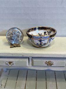 Vintage Artisan ELISABETT ANDREW Ceramic Decorated Bowl Dollhouse Miniature 1:12