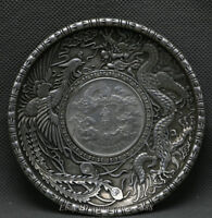 "4"" China Dynasty Miao Silver Dragon Phoenix Yi Yuan Lucky tray plate dish salver"