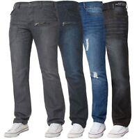 Mens Denim Jeans Classic Straight Leg Regular Fit Trousers Pants Sale All Sizes