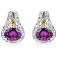 12 TCW Oval Pear Round Cut Purple Amethyst & Peridot CZ Post Butterfly Earrings