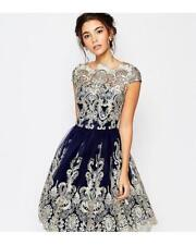 CHI CHI NAVY AND GOLD BAROQUE DRESS B4 SIZE UK 10