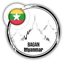 Bagan Myanmar Flag Grunge Label Car Bumper Sticker Decal 5'' x 5''