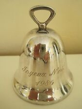 """1986 Vintage Reed & Barton Silverplate Bell Joyeux Noel Very Good Condition 3"""" H"""