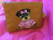 YORKIE PRETTY IN PINK  HAND PAINTED CLUTCH WALLET