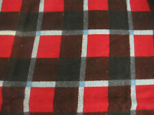 BLACK/RED/LIGHT BLUE PLAID FLANNEL MATERIAL, APPROXIMATELY 1 YARD