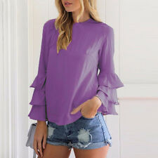 UK Womens Long Sleeve Chiffon T-Shirt Ladies Summer Loose Tops Blouse Plus Size