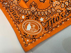 New Titos Vodka Bandana Scarf Handkerchief Orange Paisley Gift Collectible